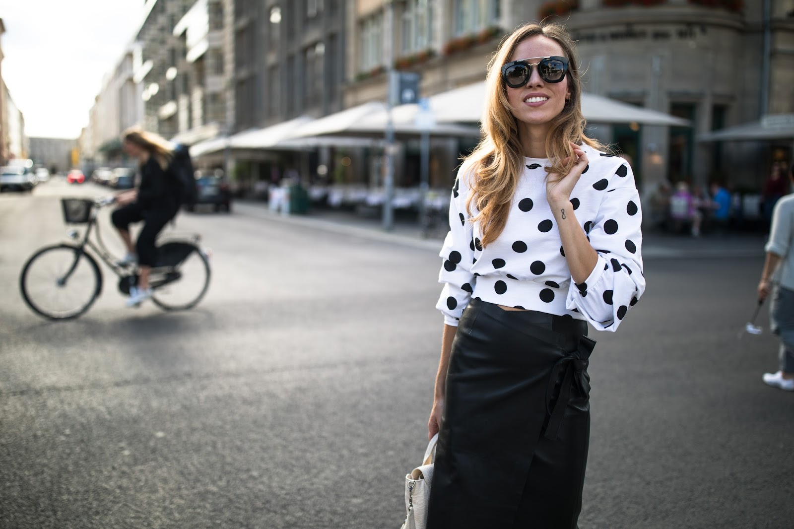 polka dot bell sleeve top outfit
