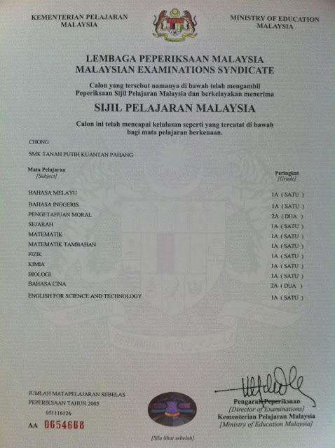 Original Sijil STPM/SPM Certificate