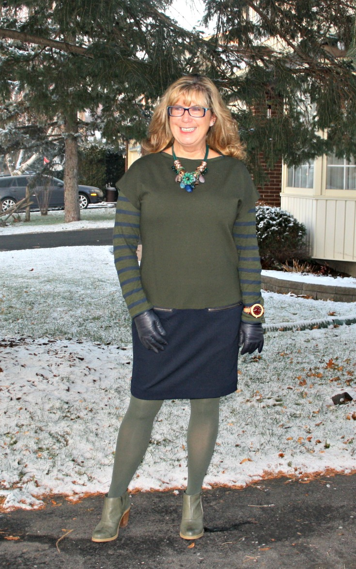 Joe Fresh Colour Block dress with matching Tee, nine west boots and a Jord Watch
