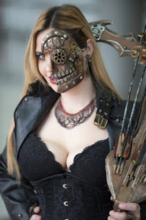 Steampunk special fx makeup guide for men and women's costumes and cosplay. Skin is torn away to reveal wood and gear skull.
