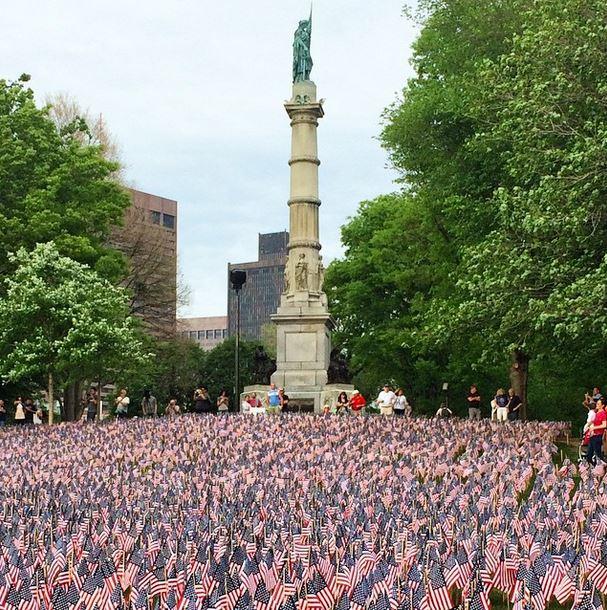 37000 American flags in Boston Common, Memorial Day 2015