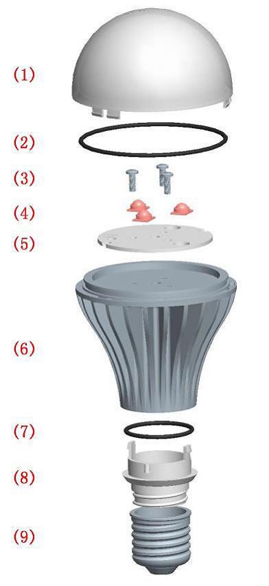 Diagrams of E26,E27 LED Light Bulbs