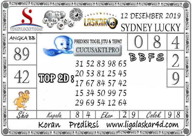 Prediksi Sydney Lucky Today LASKAR4D 12 DESEMBER 2019