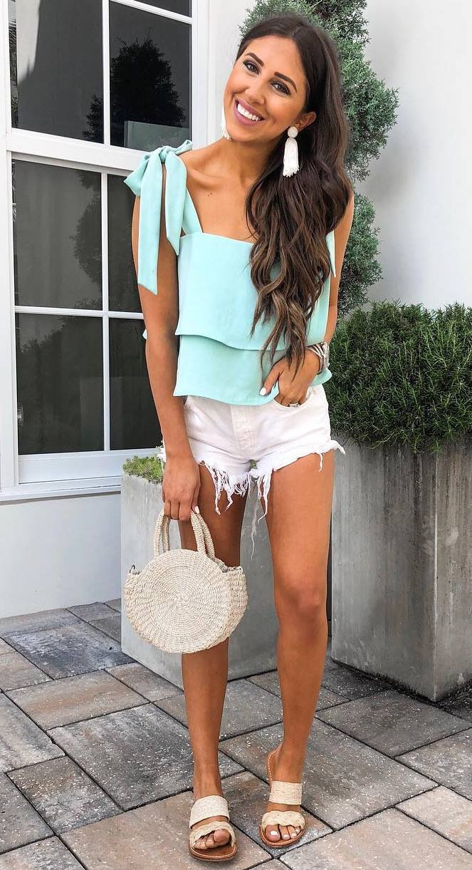 gorgeous summer outfit / mint top + slides + round bag + white denim shorts