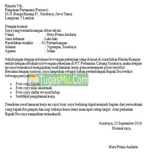 Contoh Surat Lamaran Kerja Pertamina Untuk Fresh Graduated Agar Cepat Diterima Bahasa Indonesia dan Inggris