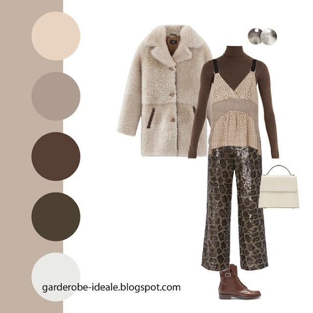 Монохромное сочетание коричневых оттенков в одежде с леопардовыми брюками