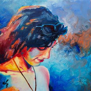 Retrato a óleo de chica colores vivos