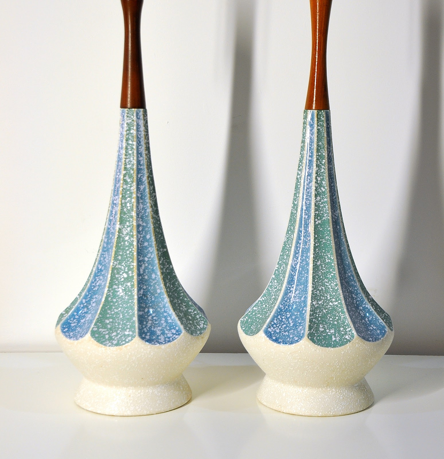 Select modern pair of danish modern ceramic table lamps pair of danish modern ceramic table lamps geotapseo Images