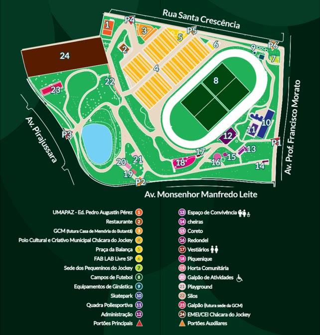 Mapa das instalações do Parque Chácara do Jockey