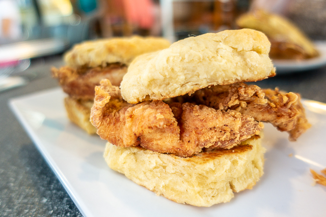 Chicken Biscuits with Pecan Butter - Blue Hen Cafe - St Augustine FL