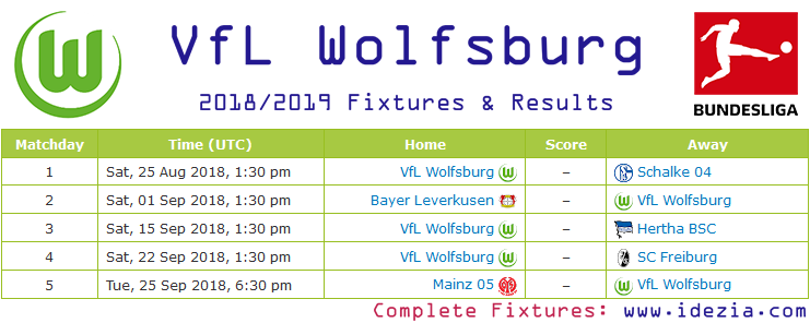 Download Full Fixtures PNG JPG VfL Wolfsburg 2018-2019