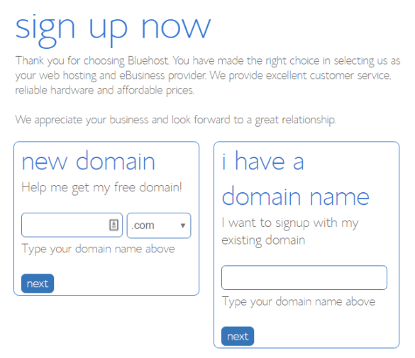 Bluehost Coupons - register a new domain name free