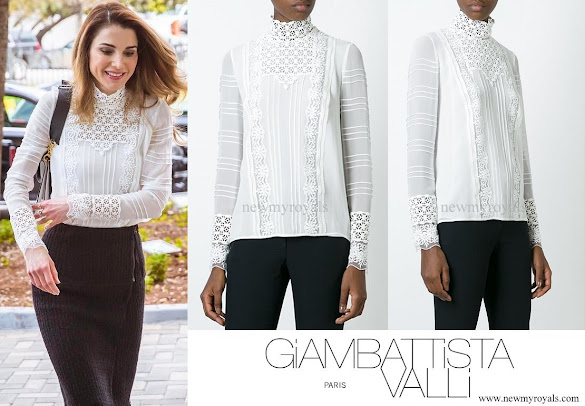 Queen Rania wore GIAMBATTISTA VALLI embroidered high neck blouse