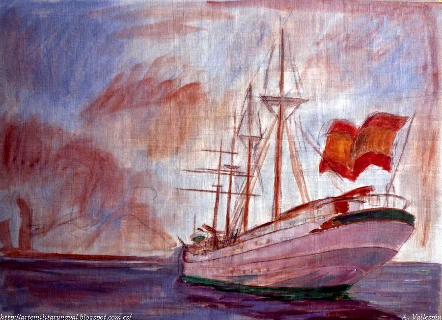 Pintura al oleo del buque Juan Sebastián Elcano visto desde popa