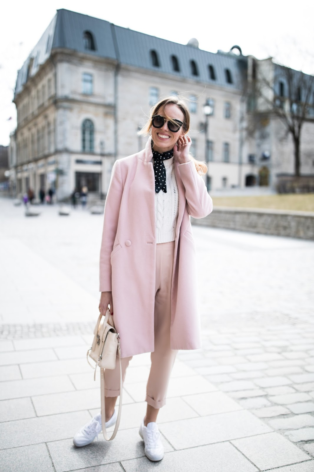 pink coat casual street style