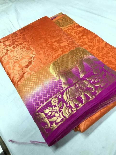 Elephanta Silk Saree With Contrast Blouse Piece