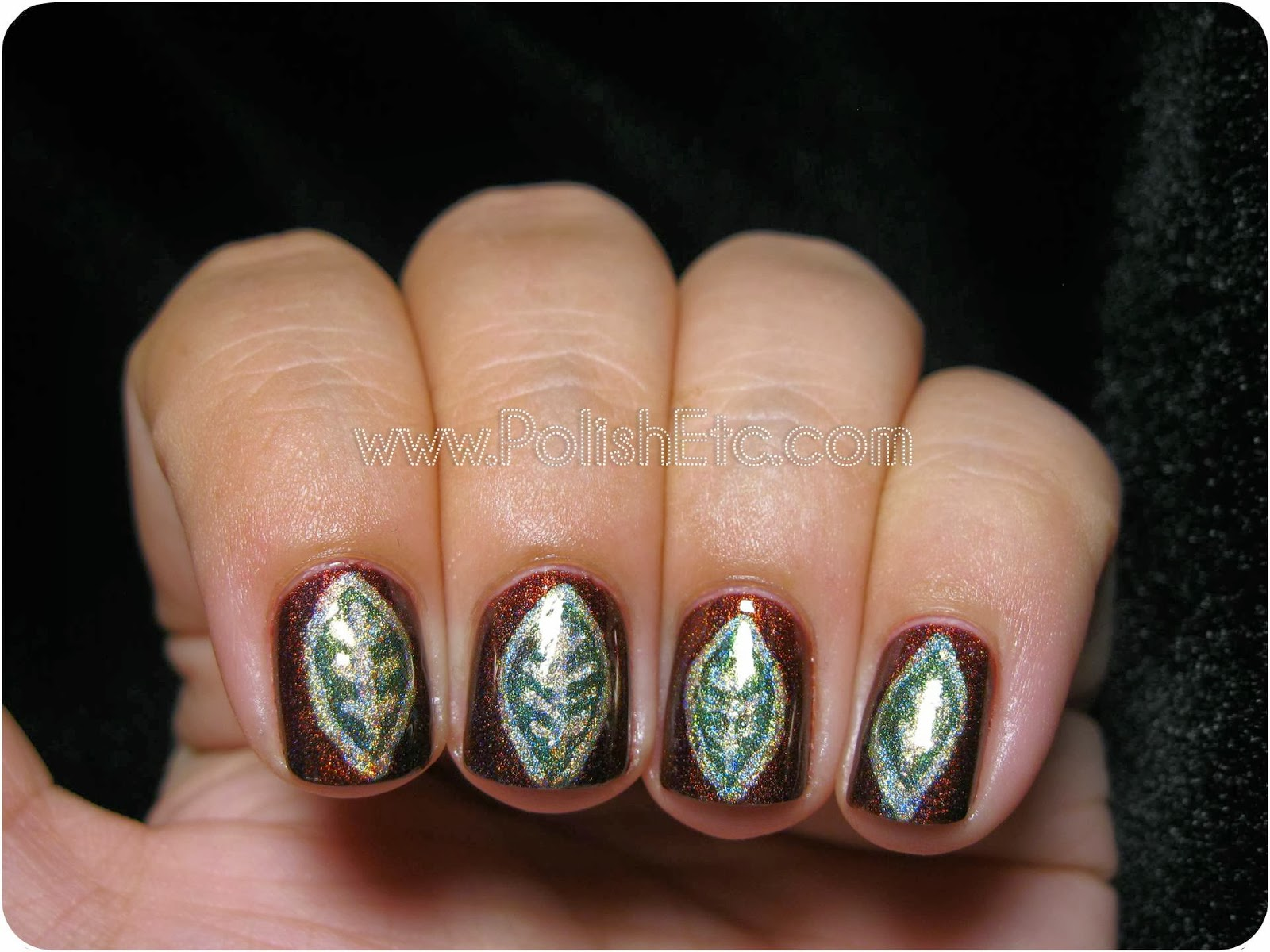 Brown and Green Holographic Leaf Nail Art - Polish Etc.