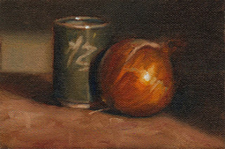 Oil painting of a small green handleless cup beside a brown onion.