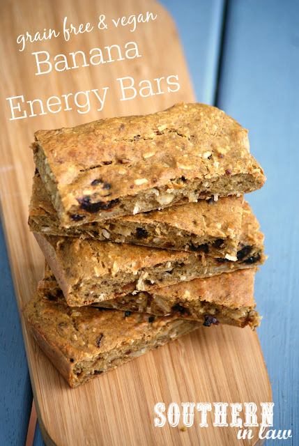 Vegan Banana Energy Snack Bars Recipe - low fat, gluten free, grain free, high protein, clean eating, sugar free, healthy snack recipes, nut free, egg free, dairy free