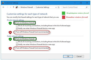Cara Menonaktifkan / Mematikan Windows Firewall pada windows 10