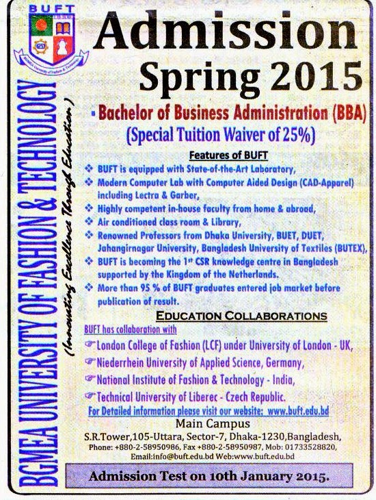 All Admission info BD: Admission Notice, BGMEA University of