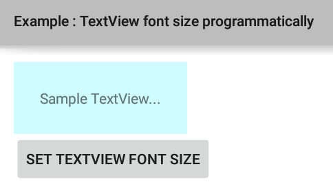 How to set TextView font size programmatically in Android