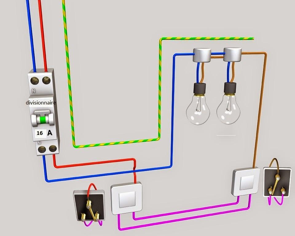 sch ma de cablage lectrique va et vient deux lampes schema electrique. Black Bedroom Furniture Sets. Home Design Ideas