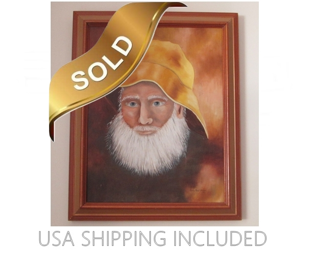 Old Man Wearing Yellow Sou'wester  Oil Painting