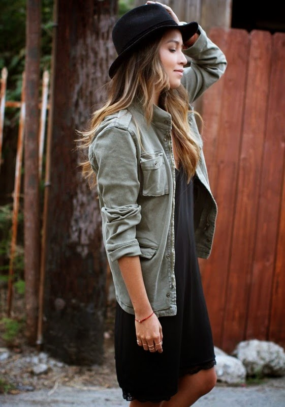 Wearing a Military Jacket with Black Dress and Hat for Trendy Look