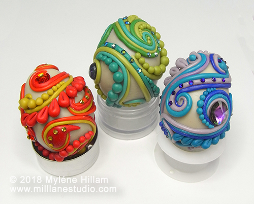 Decorative eggs made with epoxy resin clay and Swarovski resin crystals