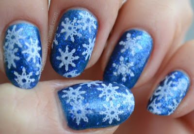 snowflakes, nails, stamping manicure