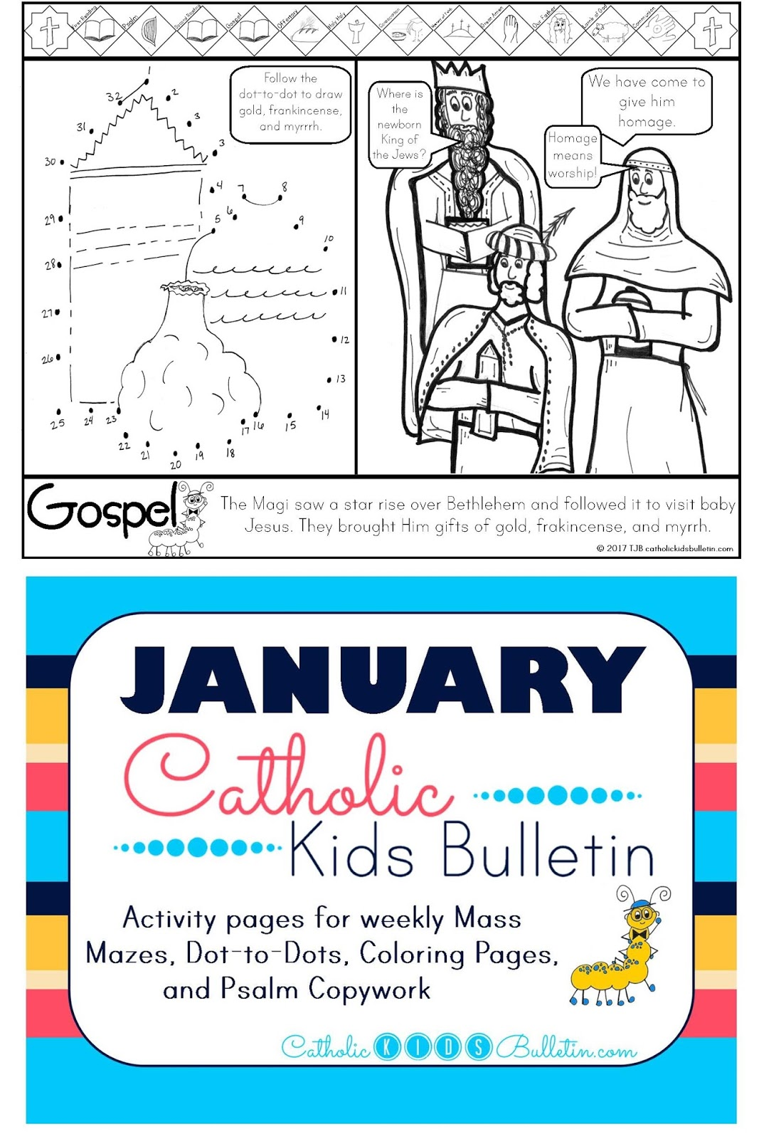 2 Matthew 2.1-12 Epiphany the Three Wise Men Coloring Page Catholic Kids Bulletin