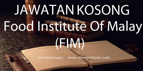 Jawatan Kosong Food Institute of Malaysia 2016
