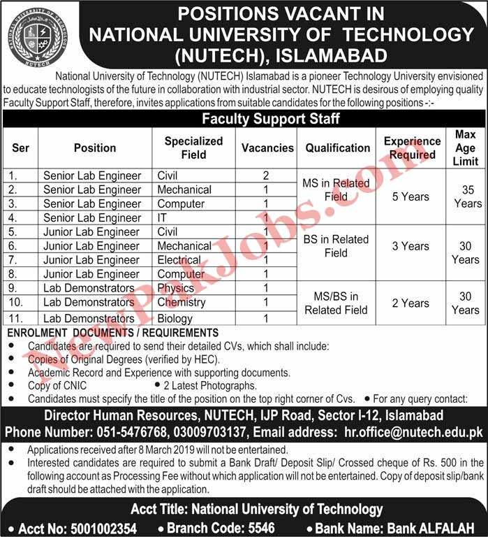 National University of Technology (NUTECH) Islamabad Jobs 2019