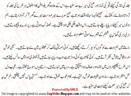 Subah ki sair short essay in urdu