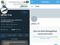 Akun @Metro_TV Kena Suspend Pihak Twitter, Kominfo Sebut Bisa Jadi Akibat Banyaknya Laporan dari Netizen