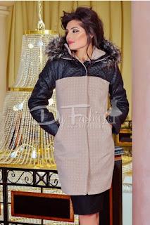 Geaca-palton de femei lunga de iarna cu gluga cu blanita