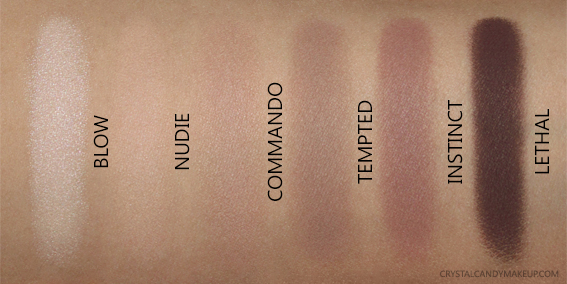Urban Decay UD Naked Ultimate Basics Palette Swatches Blow Nudie Commando Tempted Instinct Lethal