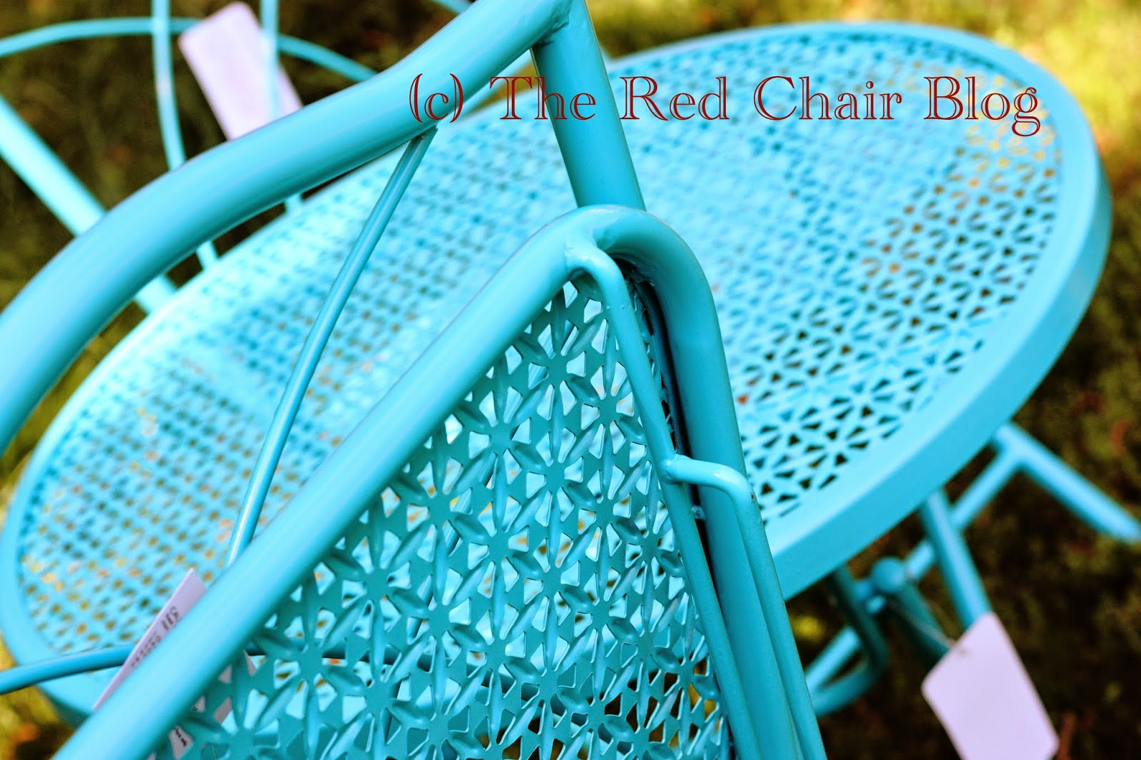 HD Designs aqua turquoise blue folding bistro set at The Red Chair Blog