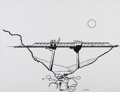Projet  pont flûte, vallée du Cians, 1990, Guy Rottier Archives privées Odette Barberis Rottier