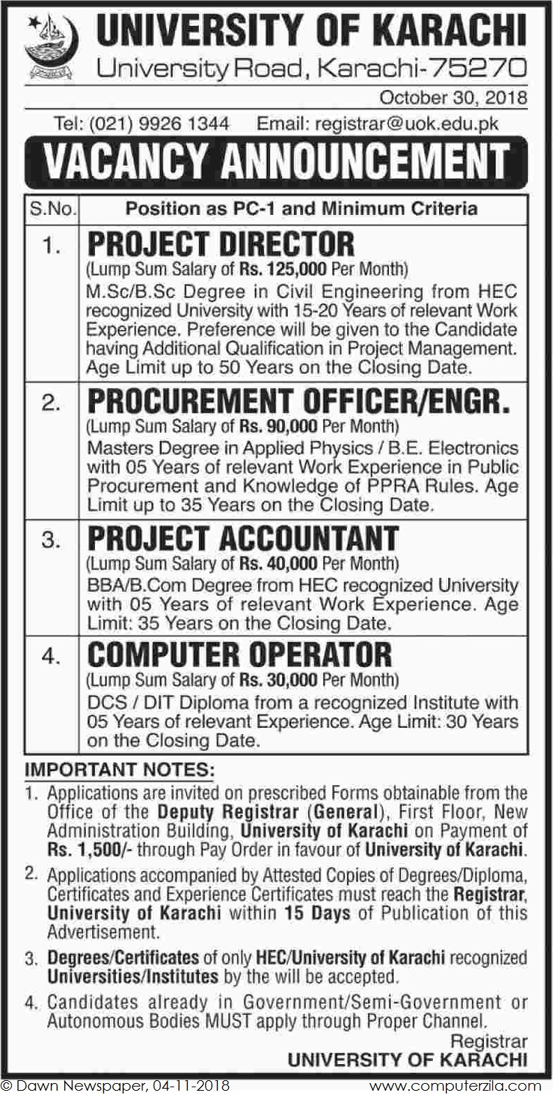 Vacancy Announcement at University of Karachi