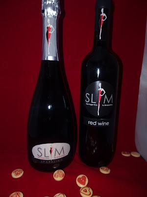 slim wine bottle on red back ground