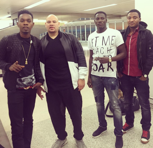 Nigeria dancehall king Patoranking takes picture with with US rapper Fat Joe after meeting at the airport