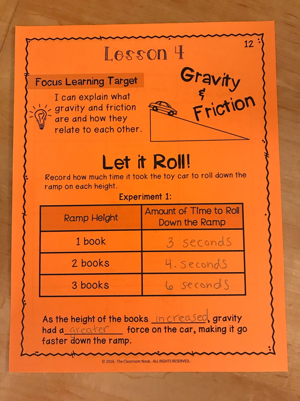 Force and motion science experiments for testing friction and gravity