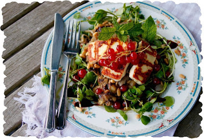 Grilled Halloumi With Pomegranate Salad