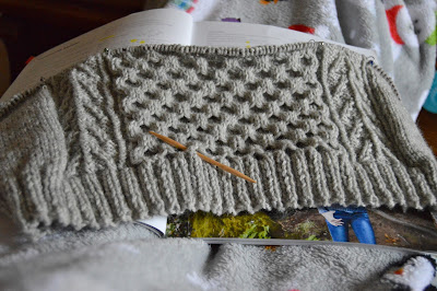 Knitting Honeycomb sweater from Knit Picks Woodsmoke Cable Collection