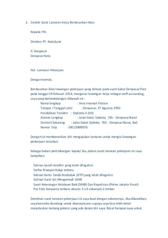 Contoh Surat Lamaran Kerja Indomaret Minatoh