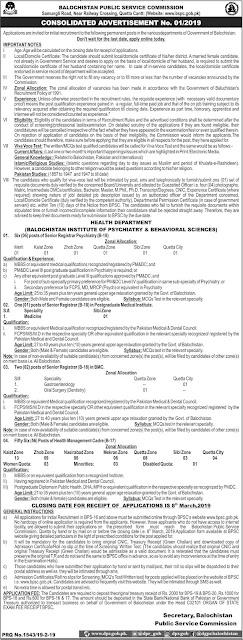 Balochistan Public Service Commission (BPSC) jobs 2019 | 65 Vacancies Open