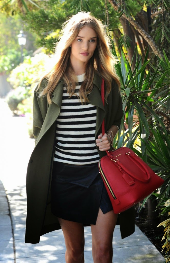 Rosie Huntington Whiteley steps out in short skirt and striped top in LA