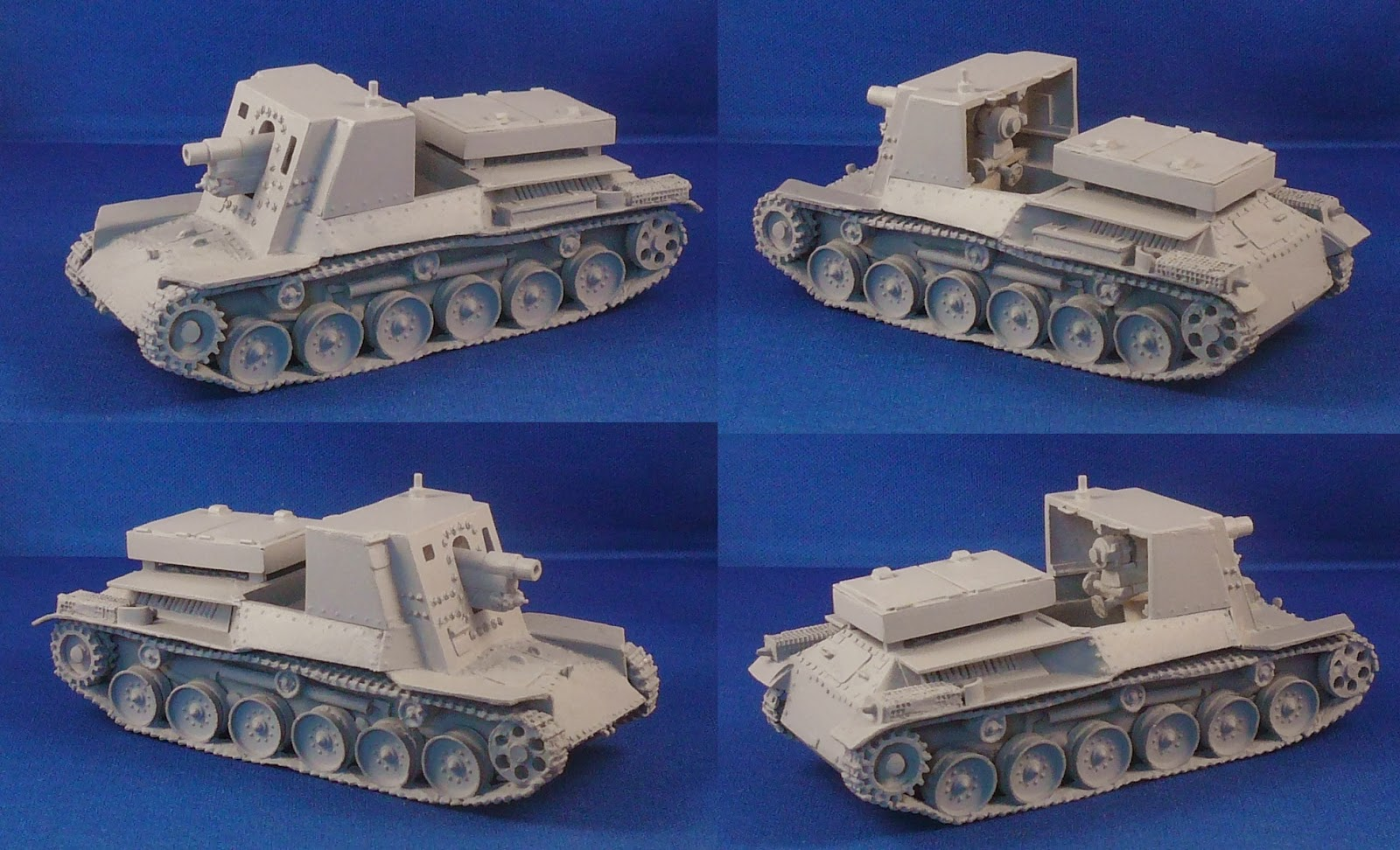 Four views of the finished Type 4 Ho-Ro self propelled gun
